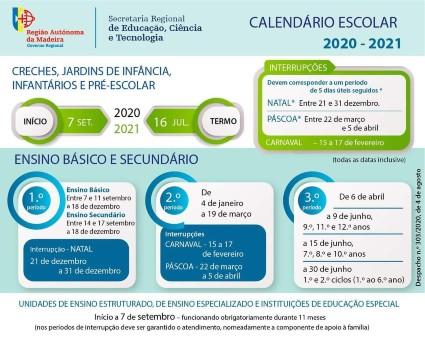 Calendário Escolar 2020/2021 - RAM